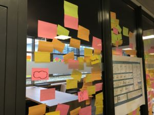 Postits on glass wall